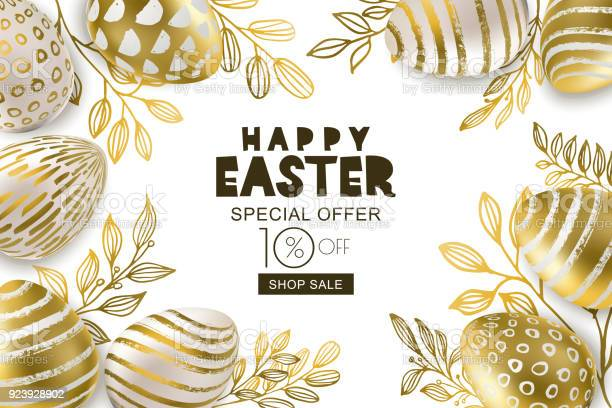 Happy easter sale banner vector golden 3d eggs and gold leves design vector id923928902?b=1&k=6&m=923928902&s=612x612&h=  h3opmlnshqpehu gvnqr0z s2y7kgwmsrkxvlzizg=