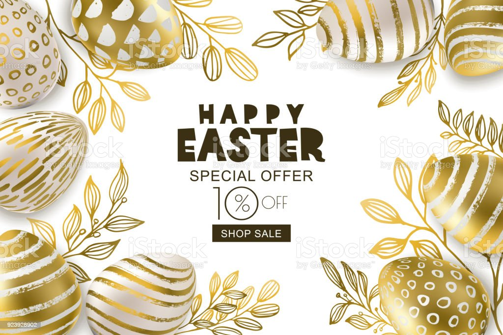 Happy Easter sale banner. Vector golden 3d eggs and gold leves. Design for holiday flyer, poster, party invitation. vector art illustration