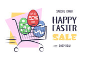 Happy Easter Sale. Colorful banner, flyer, background with Shopping Cart, Easter Eggs and sales text. Flat Vector illustration.
