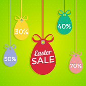 Happy Easter sale coupons. Vector illustration in flat style.