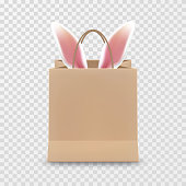 Happy Easter Sale. Realistic Paper shopping bag with handles isolated on transparent background. Vector illustration.