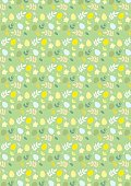Ester seamless pattern with eggs and plants on a green background.Can be used on fabric,textiles, as wrapping paper,background,on cards ore gift accesories.