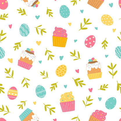 Happy Easter seamless pattern on white background. Painted eggs, branches, Easter cakes, cupcakes. Vector Illustration flat style design for invitations, prints, wrapping paper.
