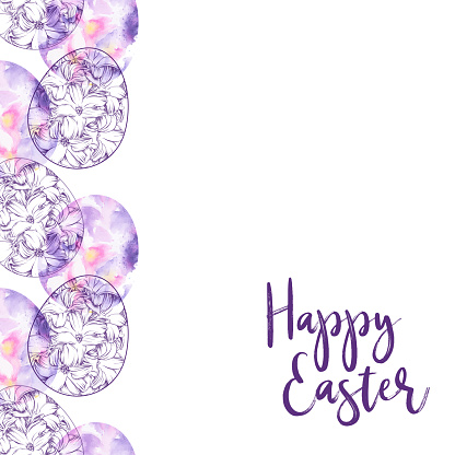 Happy Easter Seamless Pattern with Floral Easter Eggs inInk and Watercolor, Vector EPS10 Illustration