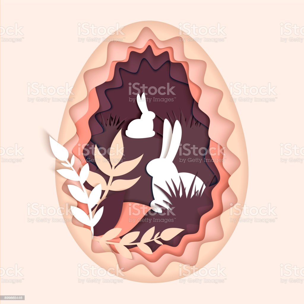 Happy easter seasons greetings paper art carve of rabbit in the happy easter seasons greetings paper art carve of rabbit in the grass royalty m4hsunfo