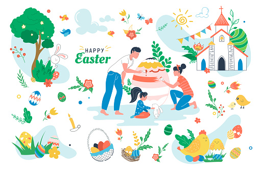 Happy Easter set isolated elements. People painting on paschal egg. Holiday symbols bundle - egg baskets, church, candles, chicken, rabbit, spring flowers. Vector illustration in flat cartoon design