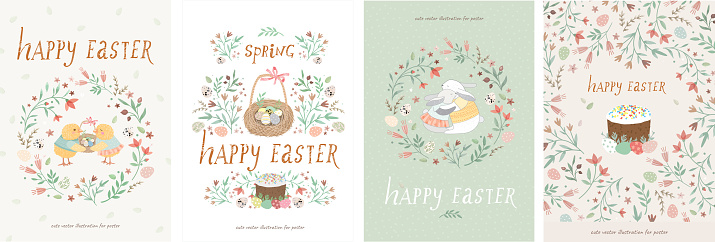 Happy easter! Set of cute vector illustrations for a poster, card, invitation or banner. Congratulations on the holiday.