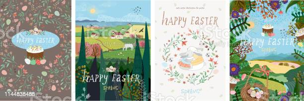 Happy easter set of cute vector illustrations for a poster cover card vector id1144838488?b=1&k=6&m=1144838488&s=612x612&h=1uhjcjdakg3ufhdabnmxon1j1z966qbrhwevq007 me=