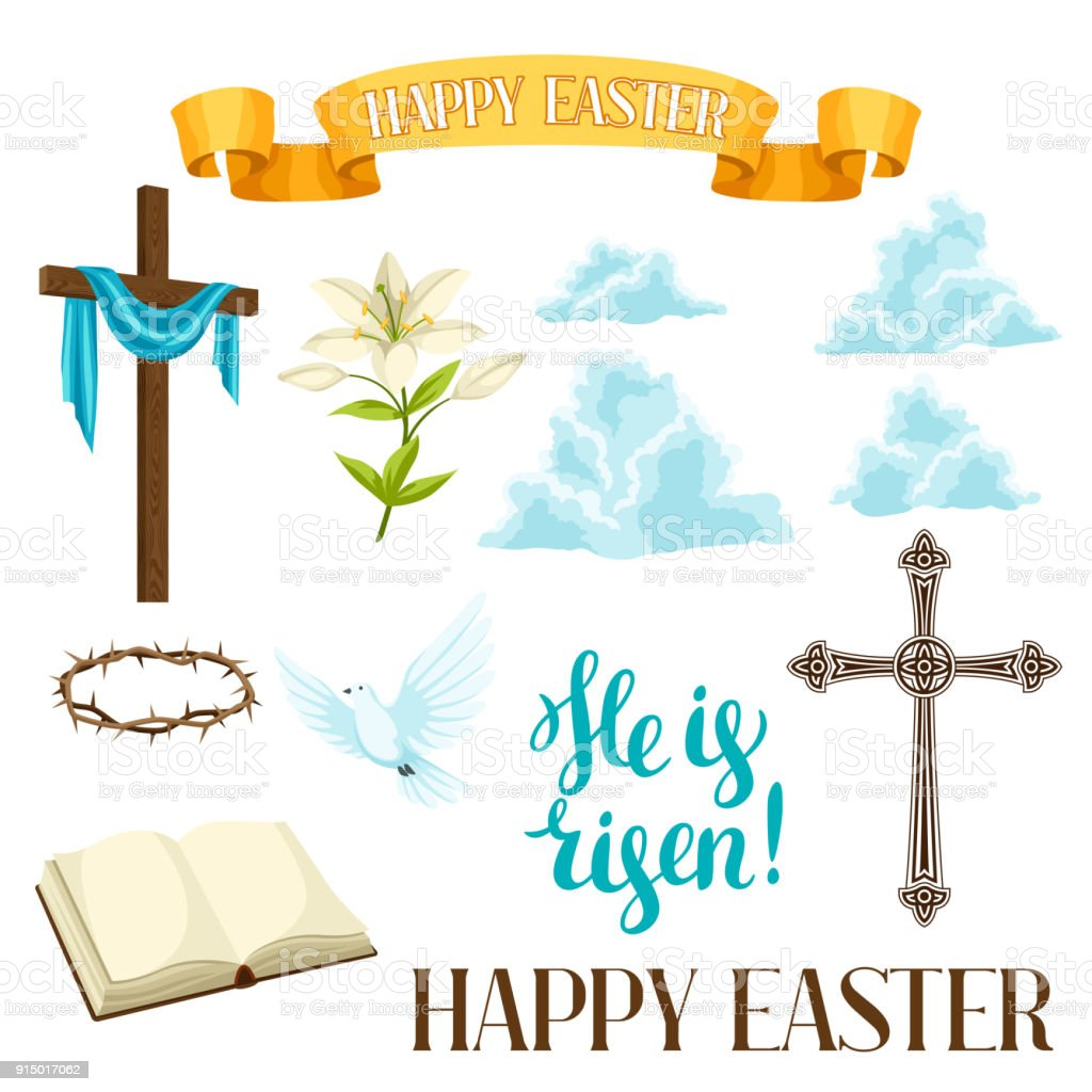 Happy Easter Set Of Decorative Objects Religious Symbols Of Faith