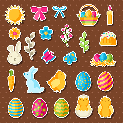 Happy Easter set of holiday stickers.