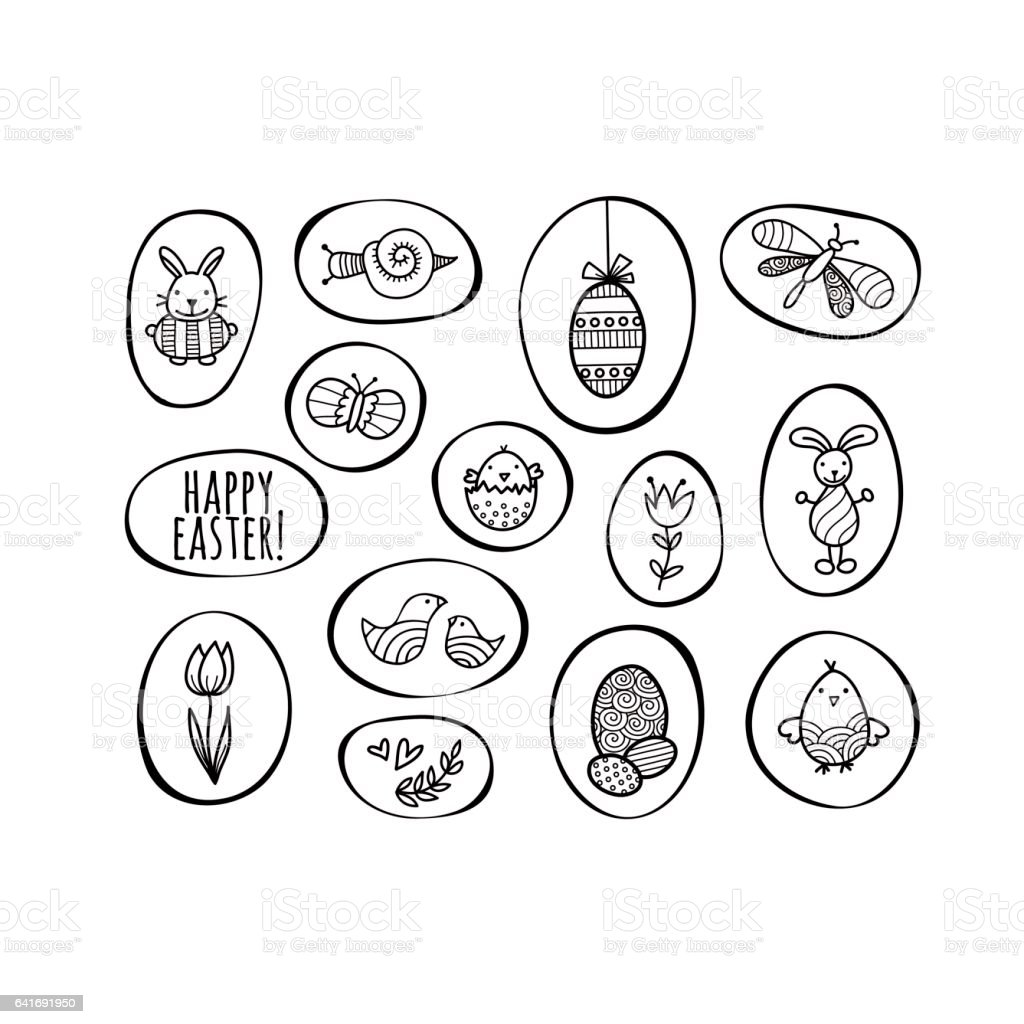 Happy Easter Shapes Hand Drawn Doodle Vector vector art illustration