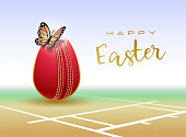 Happy Easter sports greeting card. Cricket.
