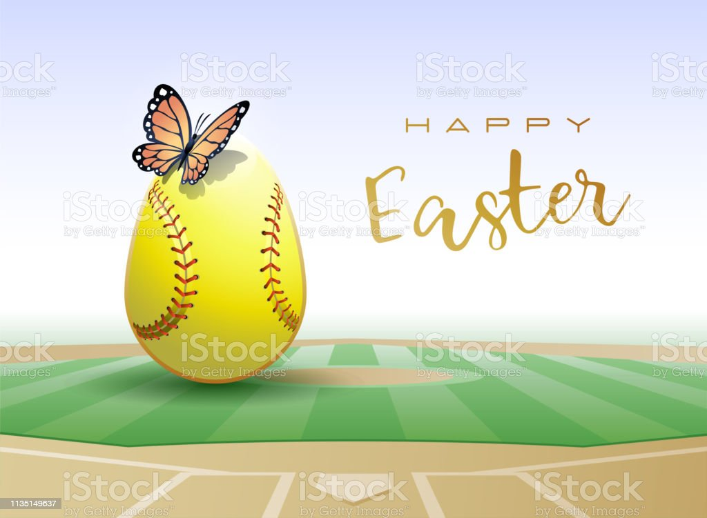 Happy Easter. Easter egg in the form of a softball ball with...