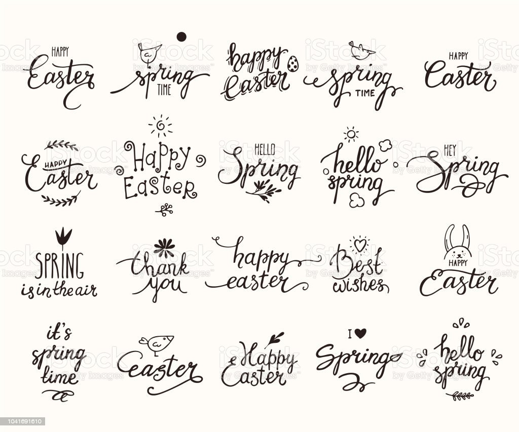 Ilustración De Felices Pascuas Primavera Letras Manuscrita