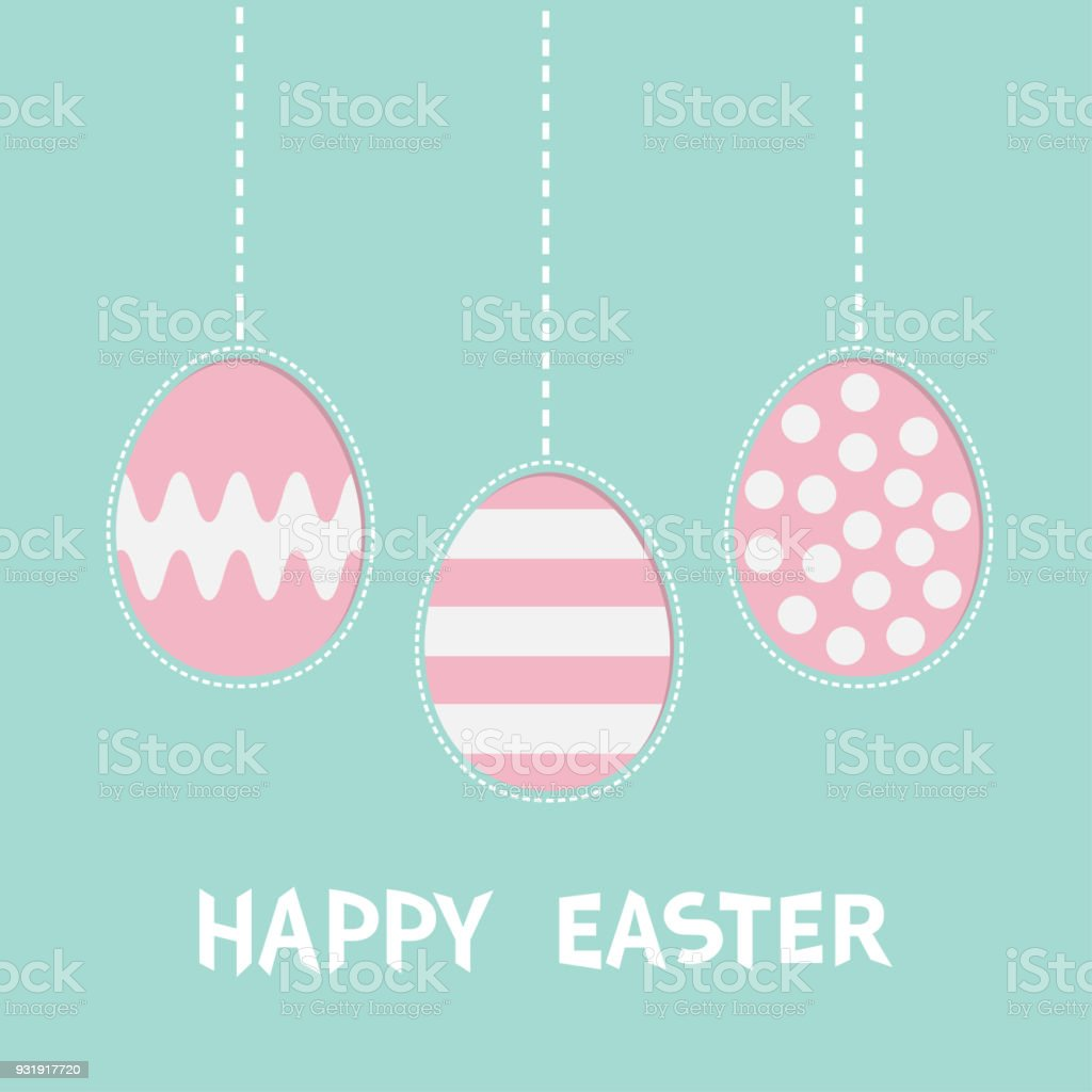 Happy Easter Text Hanging Painted Egg Set Pink Color With