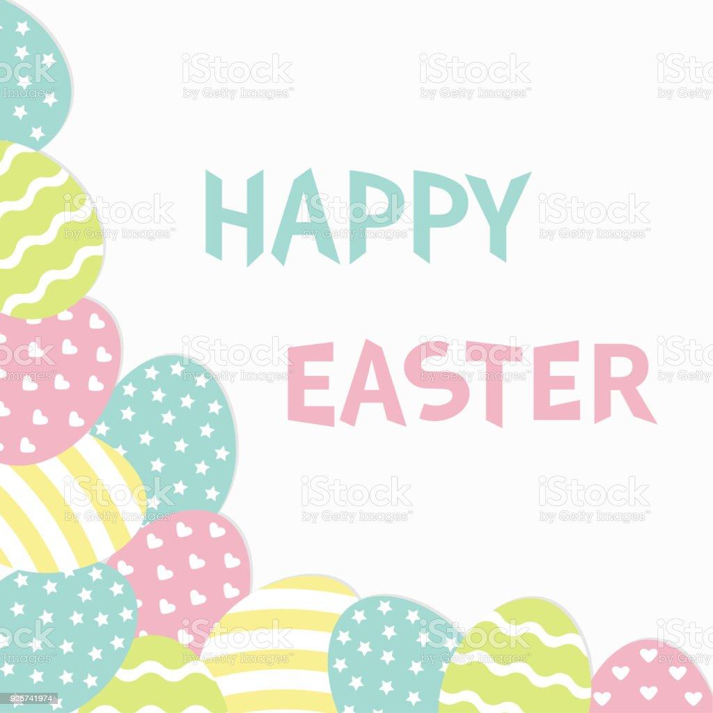 Happy Eastertext Bemalte Ei Ecke Rahmen Malereischale Herzen Sterne ...