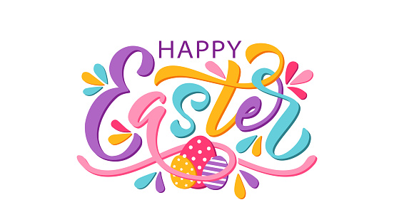 Happy Easter text. Vector illustration isolated on white background. Hand drawn text for Easter card.