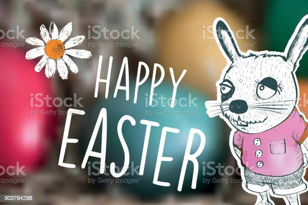Happy easter text with bunny cartoon on blurred easter eggs vector id503764298?b=1&k=6&m=503764298&s=612x612&h=8kbtzdnjzooyvia1k63qtto4l0tnozofurpqhjoqecc=