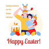 Happy easter. The family celebrates Easter with eggs, Easter cake. Mother, father, daughter, son. Vector illustration in flat cartoon. For banners, greeting cards, posters.