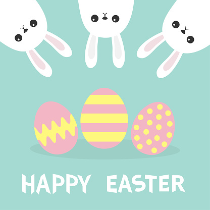 Happy Easter. Three bunny rabbit hanging upside down. Picaboo. Painted pattern egg set. Flat design. Funny head face. Cute kawaii cartoon character. Baby greeting card Blue pastel background.