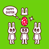 istock Happy Easter, three Easter Bunny with Easter Egg 1301894723