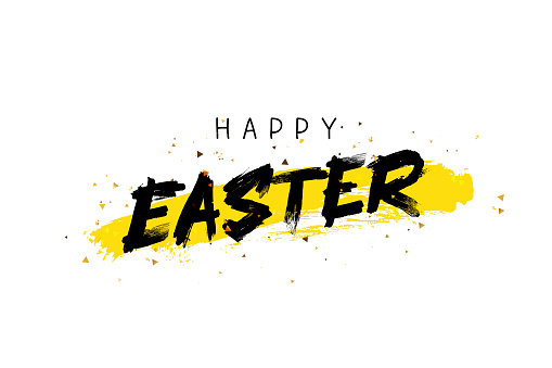 Happy easter. Trend lettering. Great holiday gift card. Vector illustration on white background