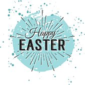 Happy Easter typographic greeting card. Easter Lettering with watercolor stain. Easter Holidays logo lettering for invitation, greeting card. Happy Easter Sale Banner. Vector typography design element