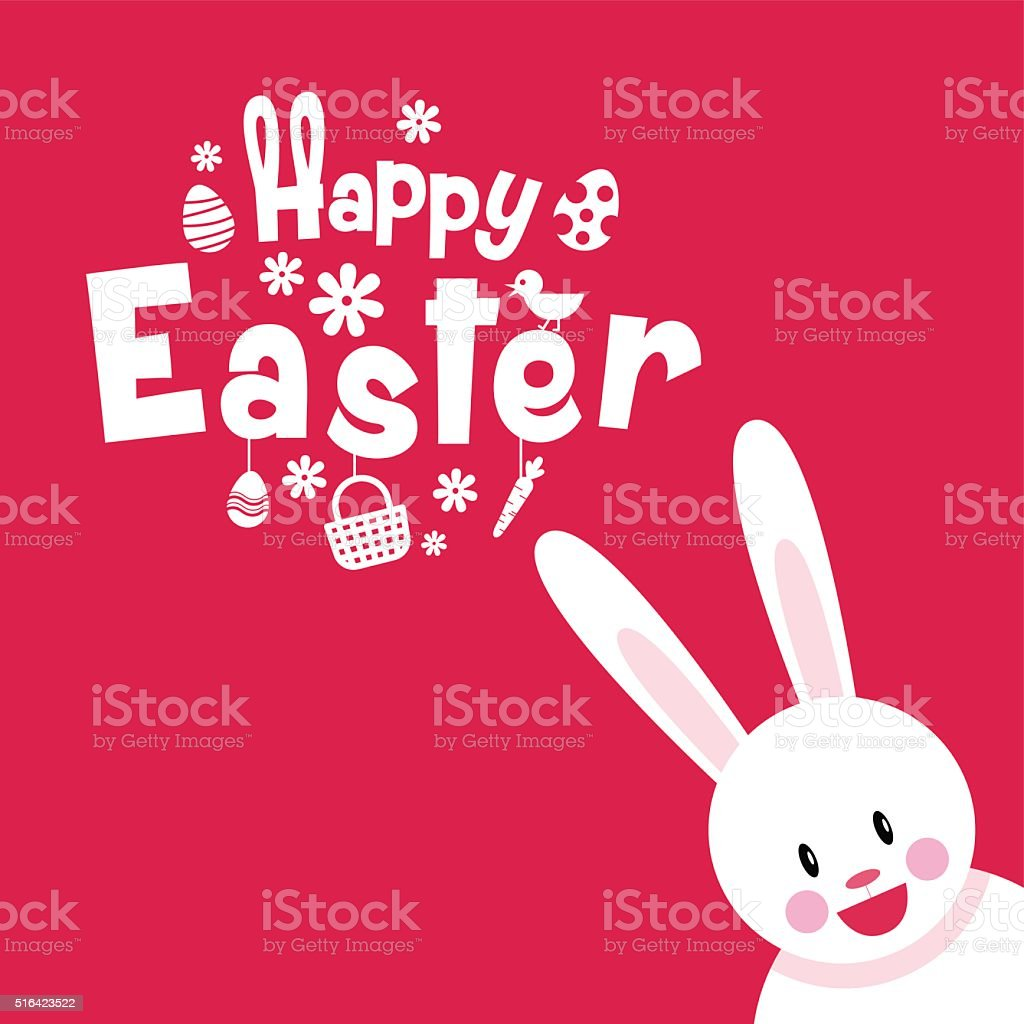 happy easter, typography, cartoon charactor vector art illustration