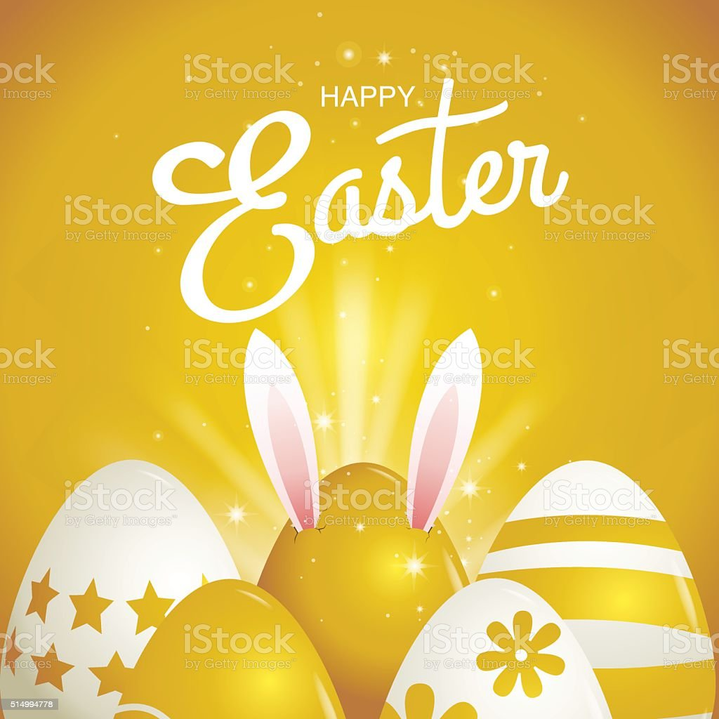 happy easter, Typography vector art illustration