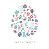 Happy Easter, vector banner template with flowers, eggs and bunnies