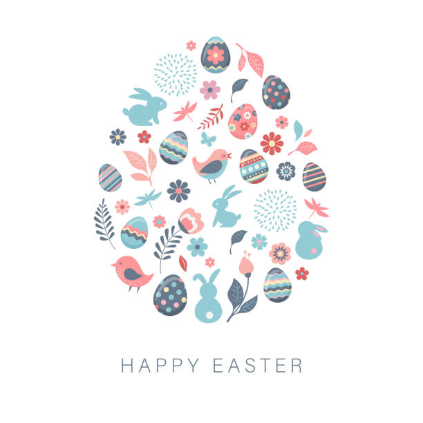 illustrazioni stock, clip art, cartoni animati e icone di tendenza di happy easter, vector banner with flowers, eggs and bunnies - pasqua