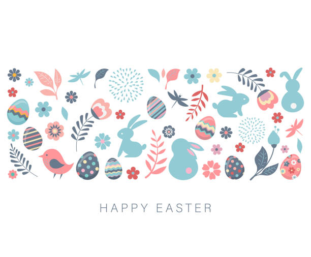 Happy Easter, vector banner with flowers, eggs and bunnies Happy Easter, vector banner template with flowers, eggs and bunnies easter stock illustrations