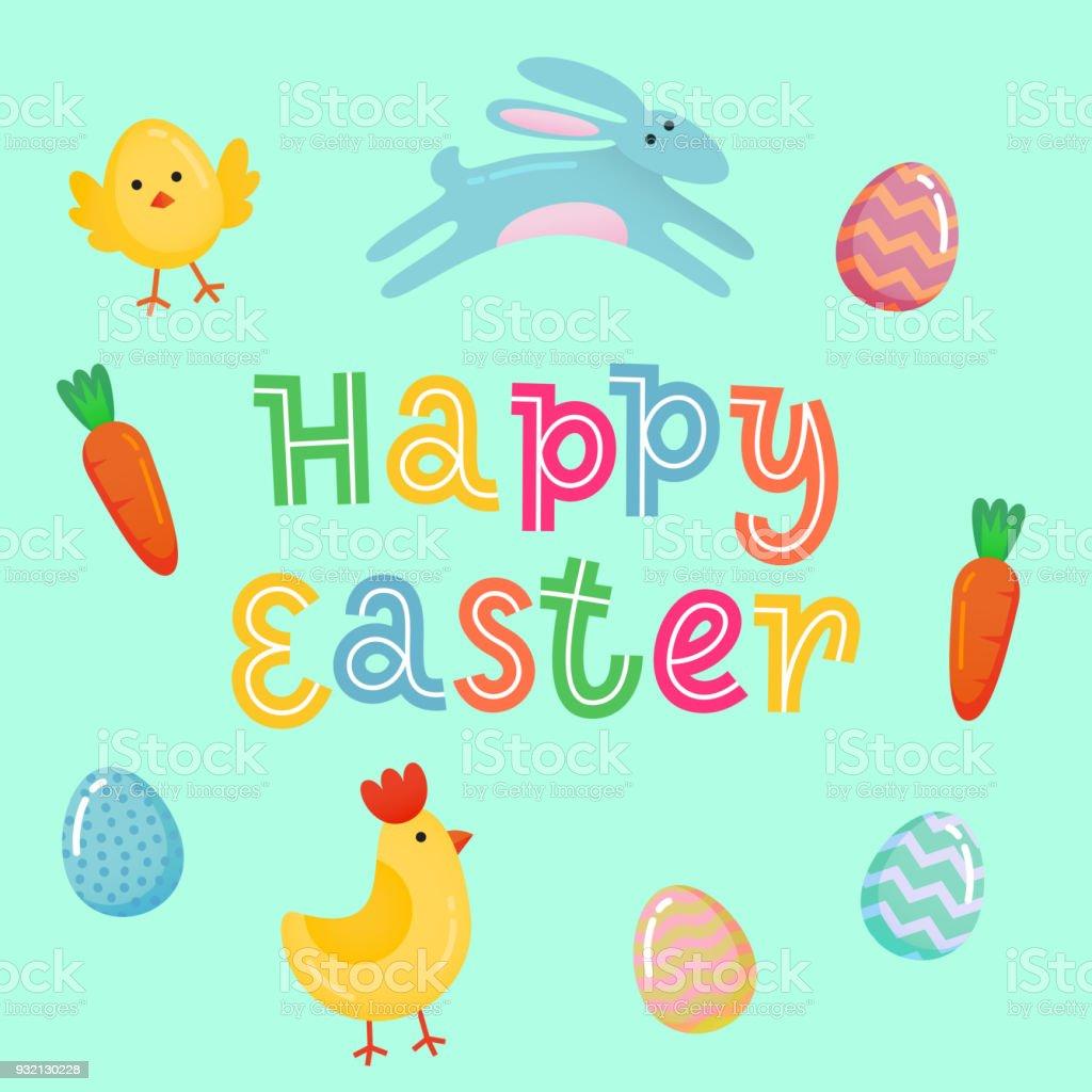 Ilustración de Feliz Pascua Vector Lindo Banner Con Color ...
