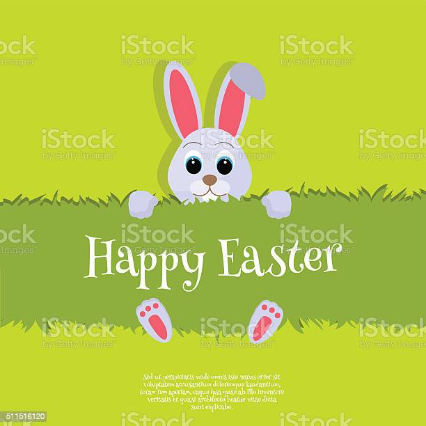 Happy easter vector easter bunny looking out a green background vector id511516120?b=1&k=6&m=511516120&s=612x612&h=hnwgsgqbavookbzszubwcdrh8dn6j7y744arudcln3m=