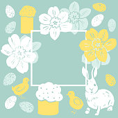 Happy Easter . Vector frame with bunny and  flowers