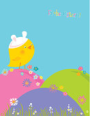 Frohe Ostern! (Happy Easter! - German) Vector illustration.