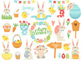 Happy Easter.  Set of Easter cute rabbit, chicken and eggs. Collection of design elements. Vector illustration