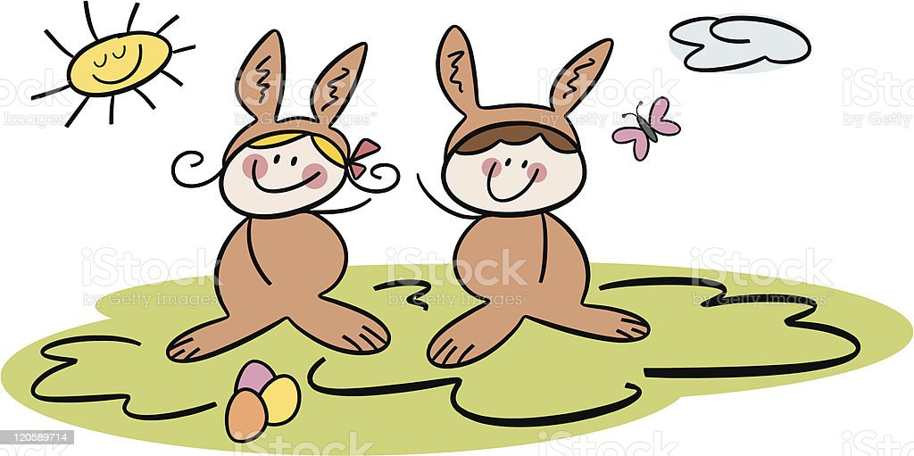 Happy Easter! royalty-free happy easter stock vector art & more images of boys