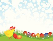Cute Baby Chicken with Easter Egg. ZIP contains AI format, PDF and jpeg XLarge.