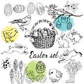 Happy Easter cards design set