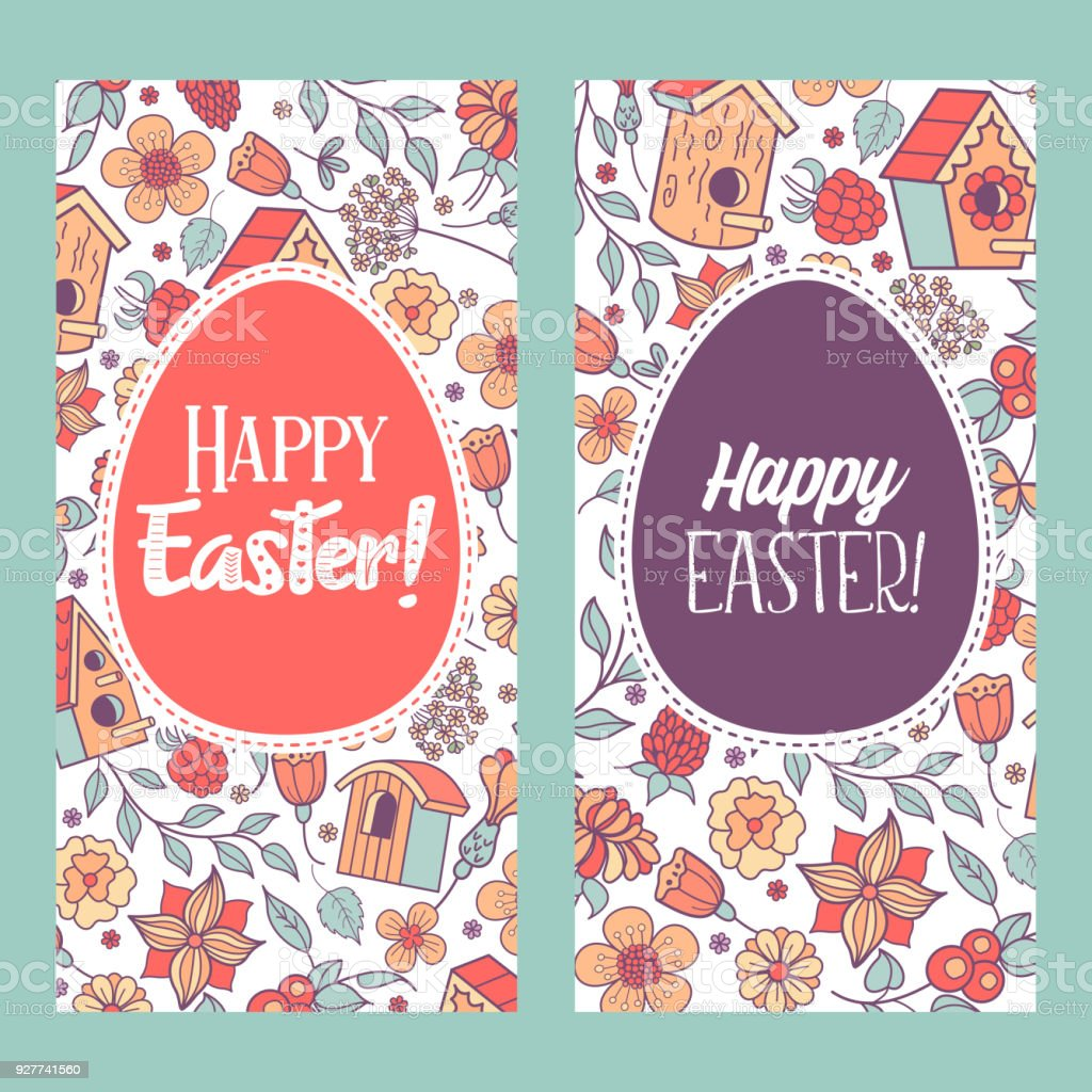 Happy Easter Vector Illustration Eggs With Floral Pattern Royalty Free