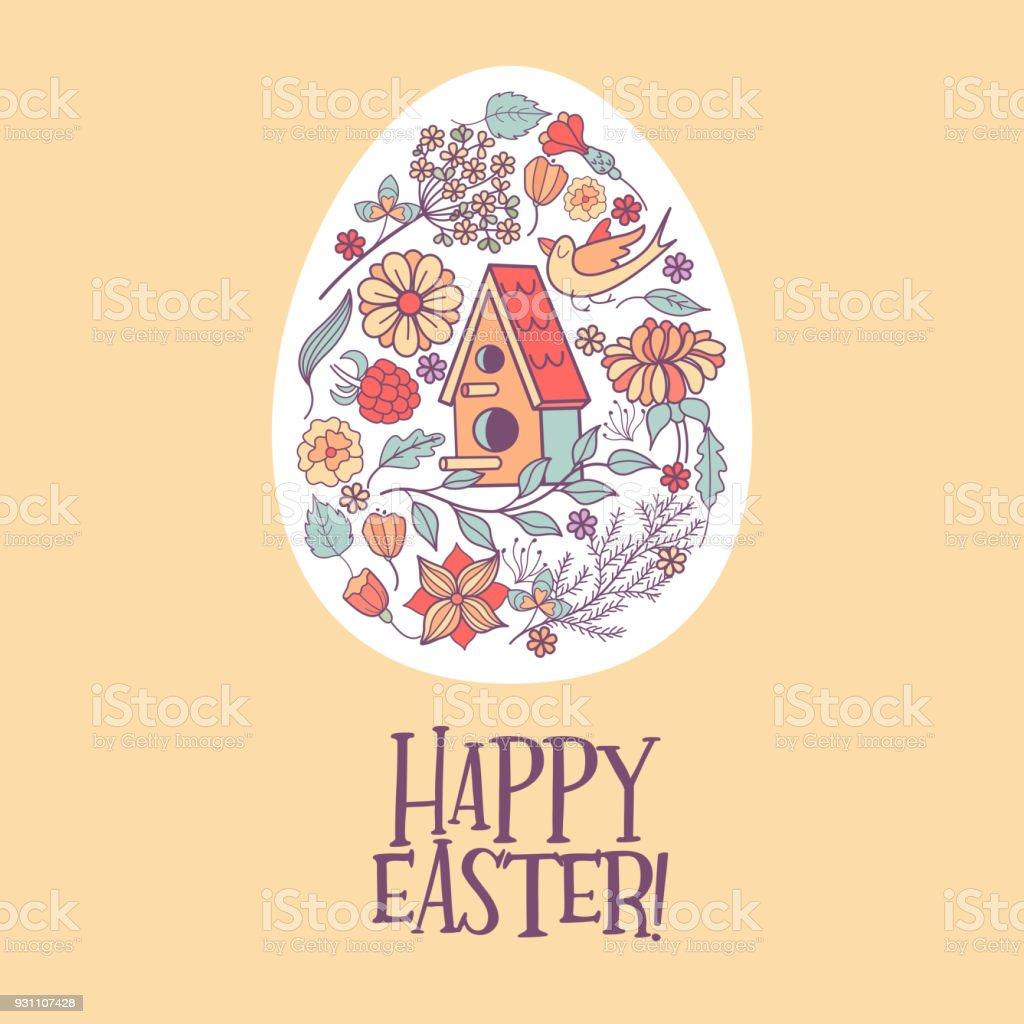 Mutlu paskalyalar.  Vektör çizim. Çiçek desenli Paskalya yumurtaları - Royalty-free ABD Vector Art