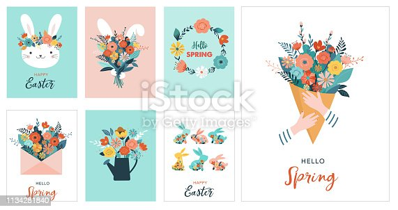 istock Happy Easter vector illustration, greeting card, poster 1134281840