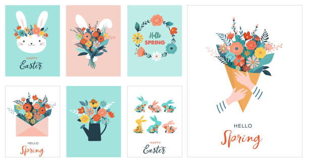 Happy Easter vector illustration, greeting card, poster Happy Easter vector illustration, greeting card, poster template spring stock illustrations