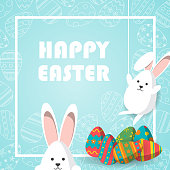 Happy Easter vector illustration, Cute white rabbit hanging on the rope and hanging down the bottom and Colorful eggs with eggs line icon on blue background and white square frame