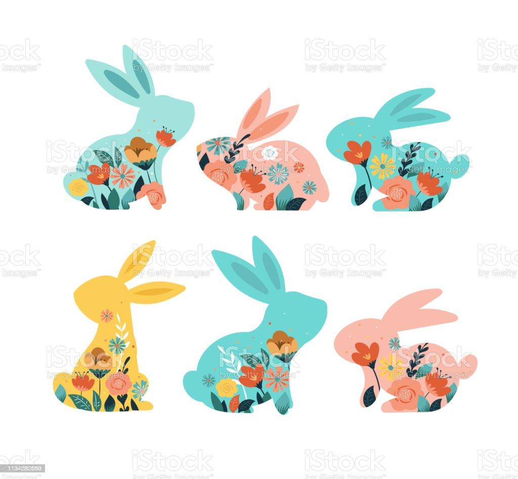 Fröhliche Ostervektor-Illustrationen von Hasen, Kaninchen-Symbole, mit Blumen geschmückt - Lizenzfrei Ast - Pflanzenbestandteil Vektorgrafik