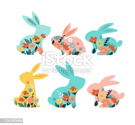 istock Happy Easter vector illustrations of bunnies, rabbits icons, decorated with flowers 1134282689