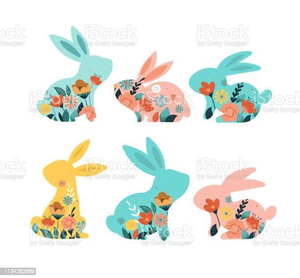 Fröhliche Ostervektorillustrationen Von Hasen Kaninchensymbole Mit Blumen Geschmückt Stock Vektor Art und mehr Bilder von Ast - Pflanzenbestandteil