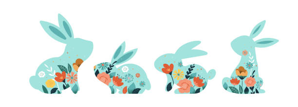 stockillustraties, clipart, cartoons en iconen met happy easter vectorillustraties van konijnen, konijnen iconen, versierd met bloemen - westers schrift