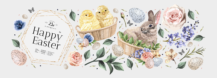 Happy Easter! Vector illustrations of watercolor cute bunny, chick, flowers, plants and greeting frame. Pictures and objects for poster, invitation, postcard or background